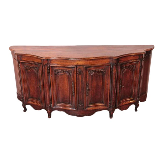 Country French Louis XV Walnut Serpentine Buffet For Sale