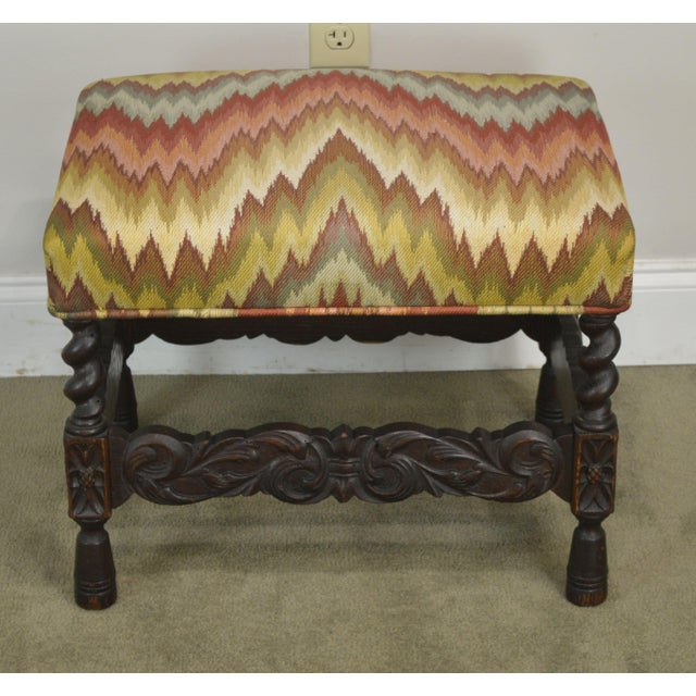 Jacobean Antique Carved Oak Jacobean Style Small Bench or Stool For Sale - Image 3 of 13