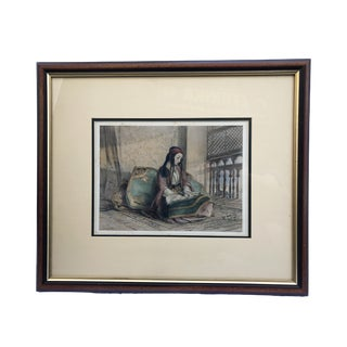 Orientalist Print of a Seating Female Framed For Sale