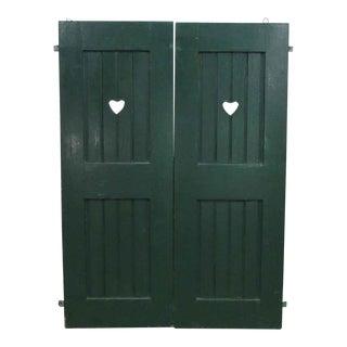 Green Heart Cut-Out Shutter Doors - A Pair