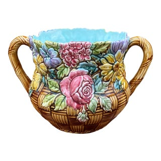 Antique French Majolica Floral Pastel Cachepot For Sale