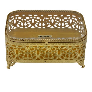 Hollywood Regency Style 24 Karat Gold Plated Beveled Glass Jewelry Box For Sale