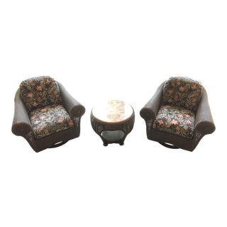 Rattan Swivel Chairs and Marble Top Side Table - Set of 3 For Sale