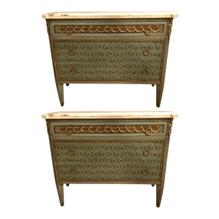 Hollywood Regency Marble-Top Commodes Chests Commode Nightstands - a Pair For Sale