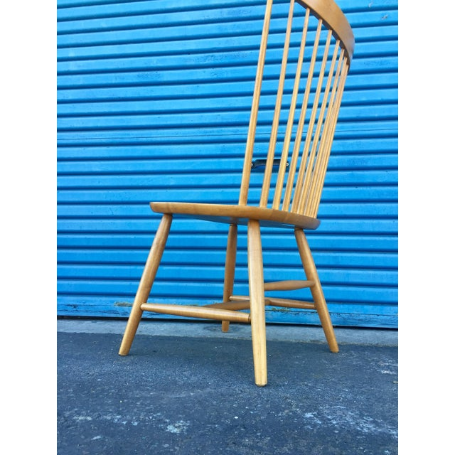 Tan Ethan Allen High Comb Spindle Back Chair For Sale - Image 8 of 11