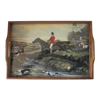 Vintage Equestrian Themed Tray For Sale