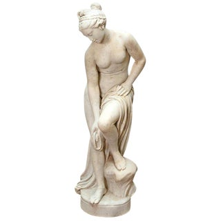 Italian Carrara Marble Life-Size Female Sculpture For Sale