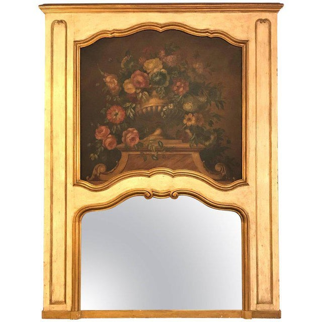 French Antique Painted And Parcel Gilt Trumeau or Over The Mantel Wall Mirror For Sale - Image 11 of 12