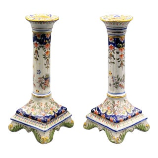 French Faience Candlesticks, Pair Hand Painted For Sale