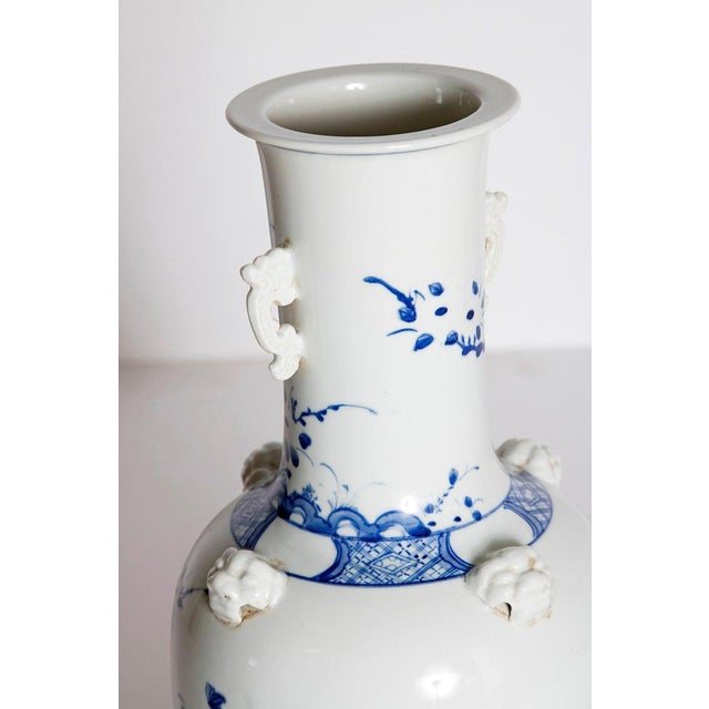 19th Century Chinese Blue and White Qing Period Vase With Foo Dog Heads For Sale - Image 9 of 13