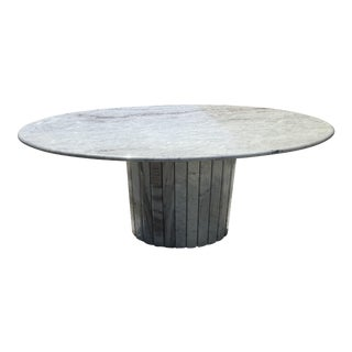 Mid-Century Oval Italian Marble Dining Table