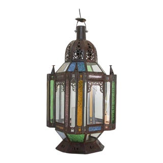 Moorish Moroccan Metal and Glass Candle Lantern For Sale
