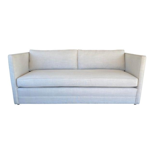 New Miles Talbott Custom Landry Sofa + White Crypton Upholstery For Sale