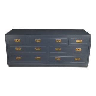 Henredon Blue Campaign Dresser For Sale