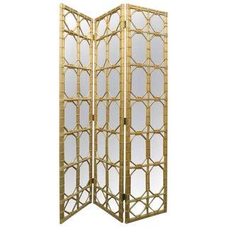 1960s 3 Panel Rattan & Mirror Floor Screen Room Divider For Sale