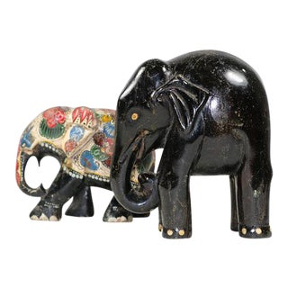 Antique Ebony and Decorative Elephants - a Pair