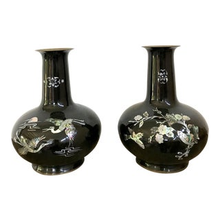 1940s Chinoiserie Brass Enameled Metal Vases - a Pair