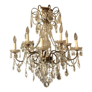 Mid 20th Century Swarovski Crystal 10-Arm Chandelier For Sale