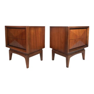 Pair of Vintage Modern Diamond Front Nightstands For Sale