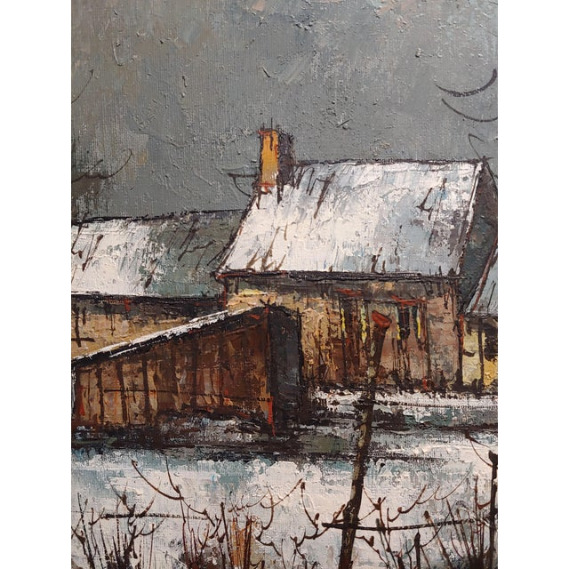 1970s Cottage Oil Painting, Winter Countryside Landscape by Aldo Luongo For Sale In Los Angeles - Image 6 of 10