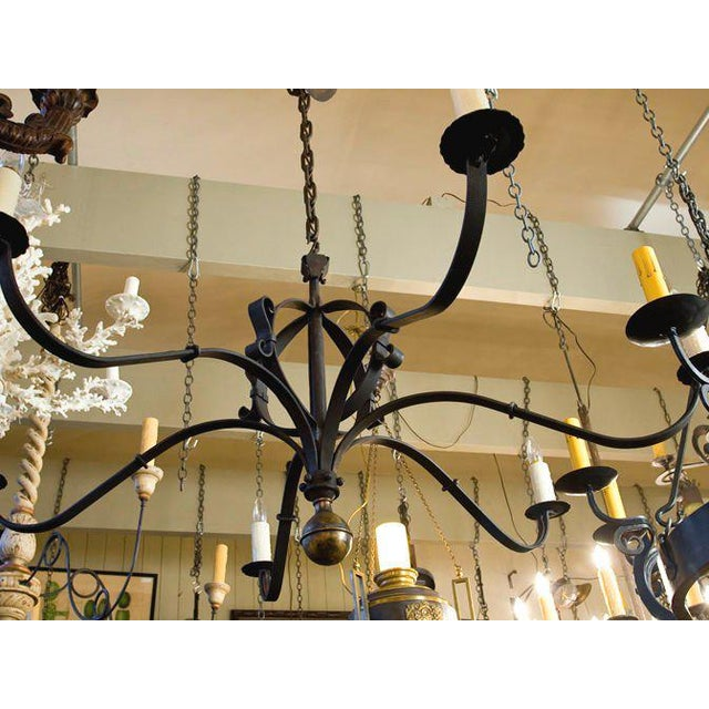 """French Monumental Custom Forged-Iron """"Defiance"""" Chandelier with Large Brass Ball Finial For Sale - Image 3 of 7"""