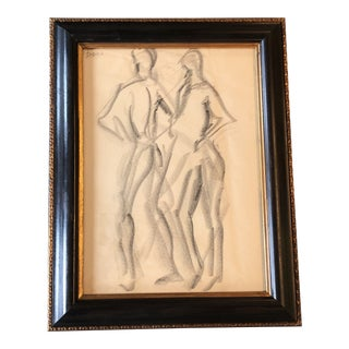 Original Vintage Charcoal Nude Double Figure Study Framed For Sale