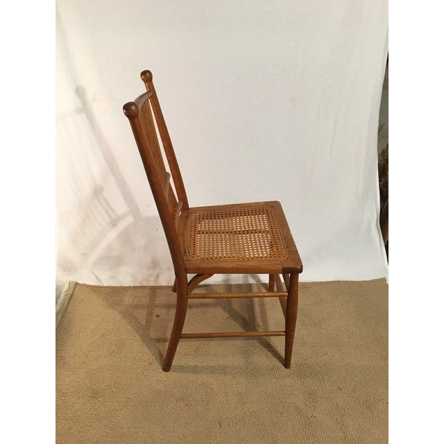 Antique American Spindle Back Caned Desk Chair - Image 3 of 4