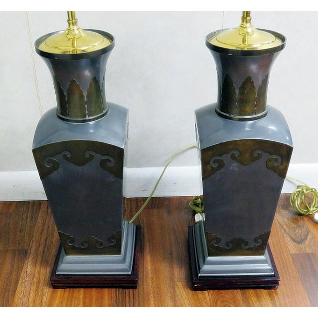 Mid 20th Century Pair of Mixed Metal Table Lamps For Sale - Image 5 of 7
