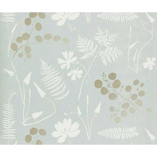 Sample - Schumacher Modern Botanical Wallpaper in Slate For Sale