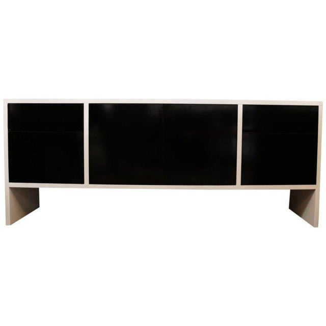 Milo Baughman White Lacquered Credenza with Contrast Doors - Image 2 of 8