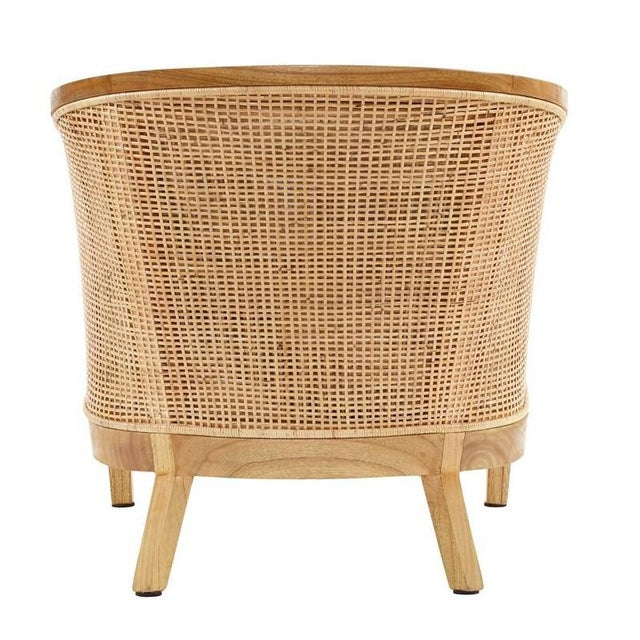 Valencia Club Chair. Woven Rattan Seat and Back. Mindi Wood Frame Color - Natural; Cushion Color - Cream. Chair weight...
