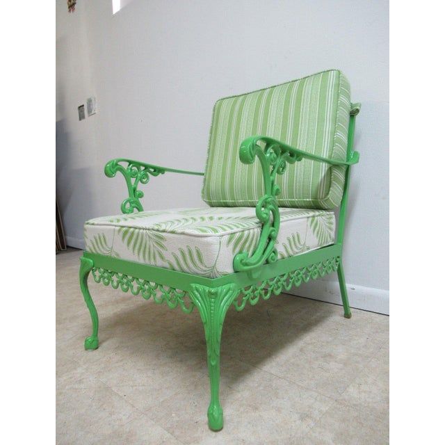 Vintage Green Aluminum Chippendale Ball & Claw Patio Chair For Sale - Image 4 of 11