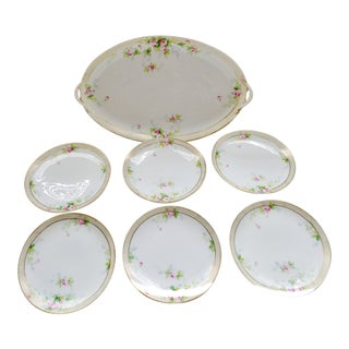 Vintage 1920s Nippon Porcelain Petite Serving Tray W/ Dessert Plates - 7 Piece Set For Sale
