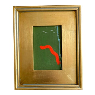 Green and Orange Contemporary Mini Painting For Sale