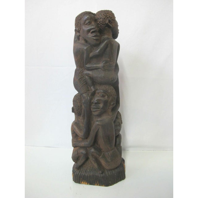 Vintage Makonde Tree of Life Wood Carving Sculpture Signed Amisi For Sale In Portland, OR - Image 6 of 6