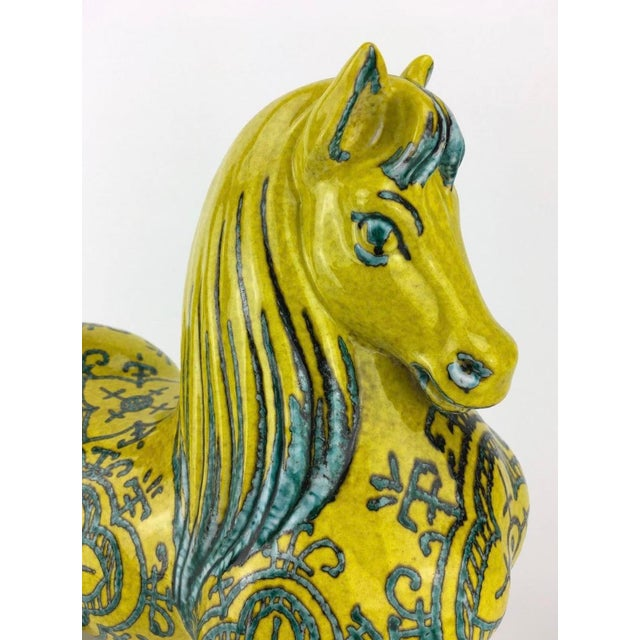 """Rare Large Vintage Italian Modern Art Pottery Horse. • Attributed to Alvino Bagni • Made in Italy • Measures at 12"""" X 11""""..."""
