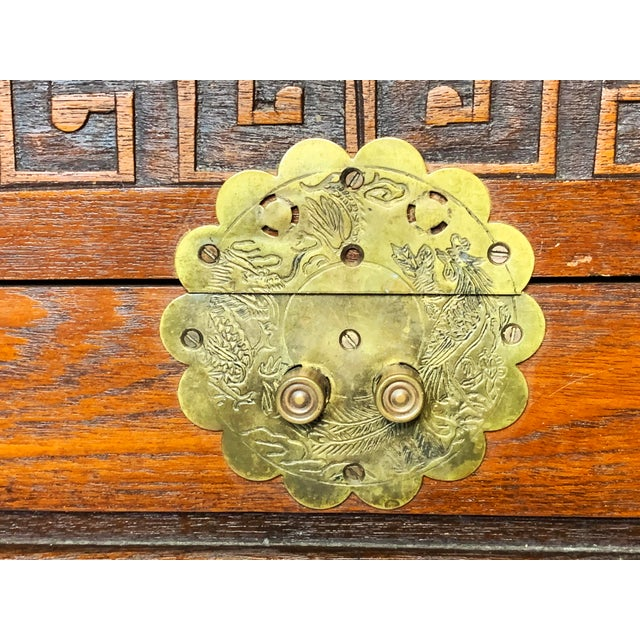 Late 19th Century Antique Chinese Hand Carved Camphor Chest / Trunk For Sale - Image 9 of 10