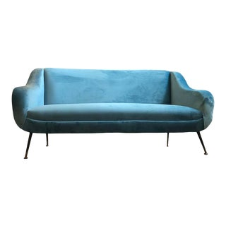 1960s Italian Mid-Century Modern Minotti Attributed Light Blue Velvet Sofa For Sale