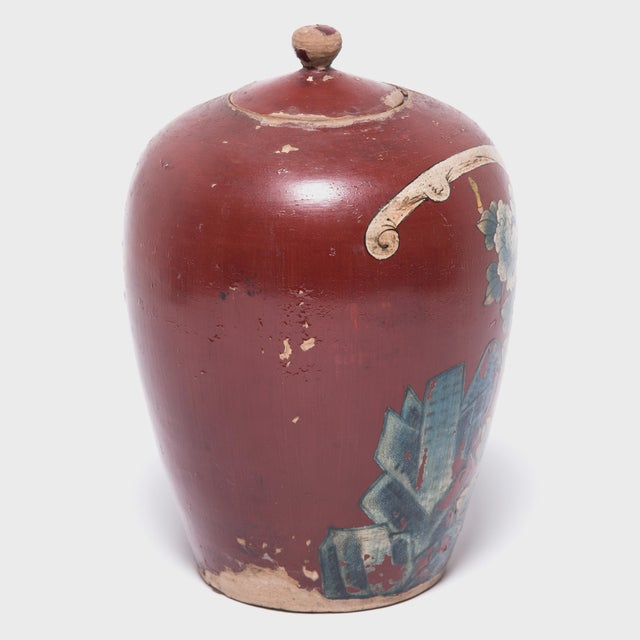 Chinese Painted Oxblood Jars With Phoenix & Peonies - a Pair For Sale - Image 10 of 13