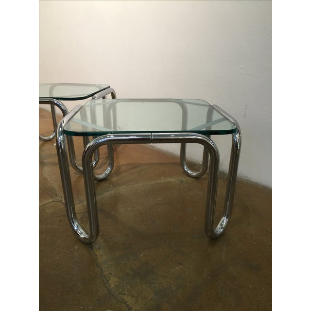 Vintage Chrome & Glass End Tables - A Pair - Image 3 of 6