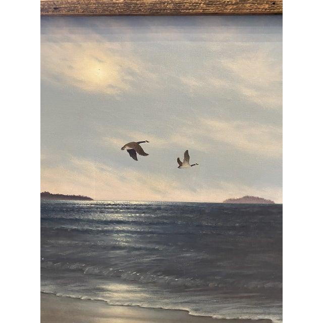 """1960s """"Geese in Flight"""" Vintage Oil Painting For Sale - Image 5 of 11"""