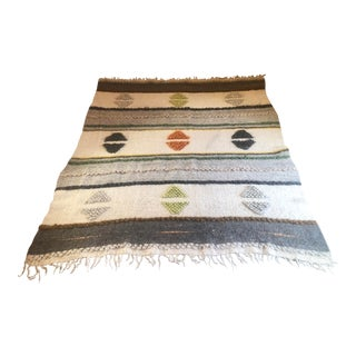 Bohemian Wool Rug / Blanket - 6′3″ × 7′ For Sale