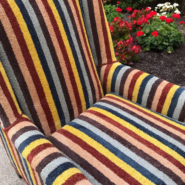 1970s 20th Century Century Furniture Kravet Stripe Club Chairs - a Pair For Sale - Image 5 of 13