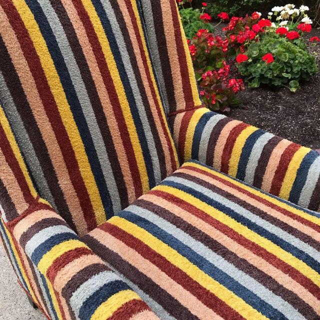 1970s Vintage Century Furniture Kravet Vespa Multi Color Stripe Club Chairs - a Pair For Sale - Image 5 of 13