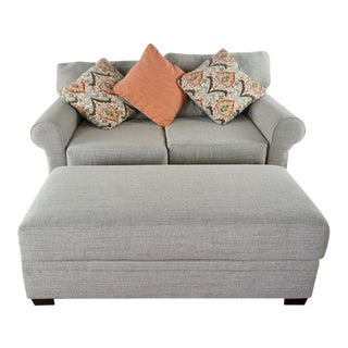 Gray Upholstered Loveseat and Ottoman