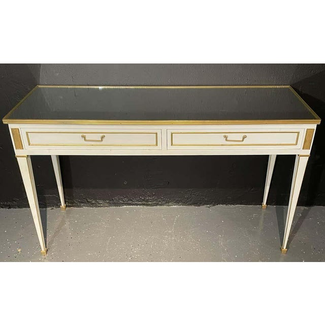 Jansen Hollywood Regency Style Console / Sofa Tables, Mirrored & Painted - a Pair For Sale - Image 4 of 13
