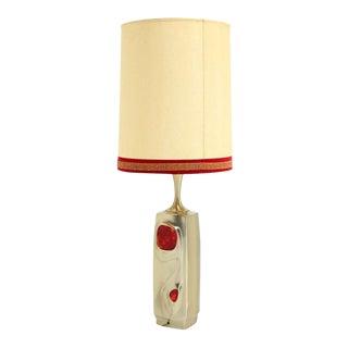 Mid-Century Modern Art Nouveau Style, Cast Metal Base Table Lamp For Sale
