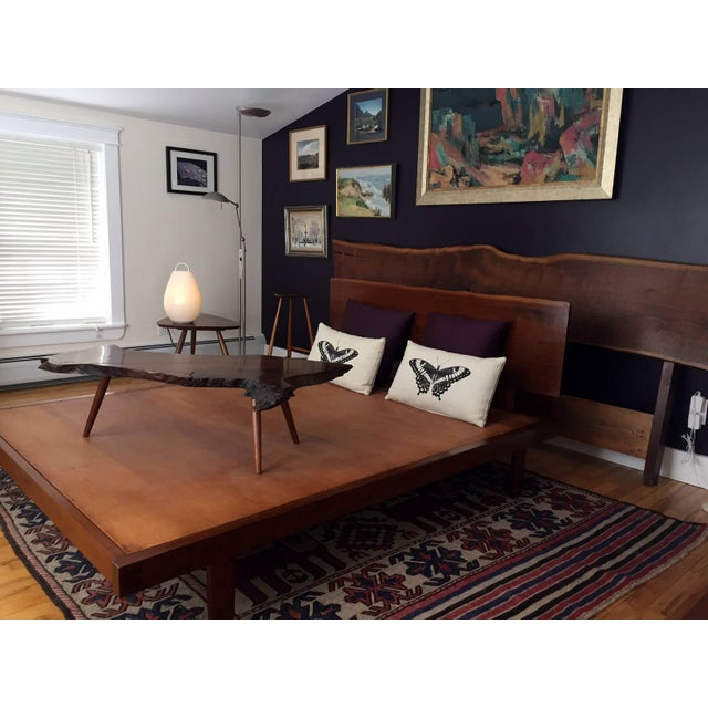 Platform Bed With Walnut Headboard in the Style of George Nakashima For Sale - Image 9 of 11