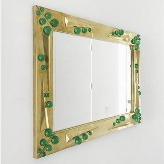 Fabio Ltd Verde Green Murano Glass Inserts Brass Mirror Preview