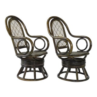 1970s Mid-Century Modern Paul Frankl Style Bent Rattan & Wicker Swivel Armchairs - a Pair For Sale